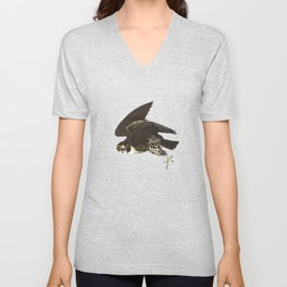 The hawk hangs perfect in mid air.. Unisex V-Neck
