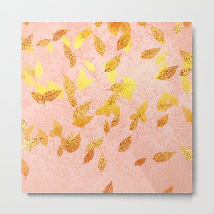 Autumn-world 2 - gold glitter leaves on pink background Metal Print