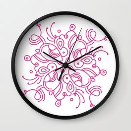 Pink happy lines Wall Clock
