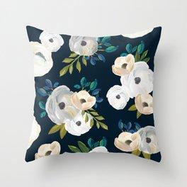 Midnight Florals - Blue & Cream Throw Pillow