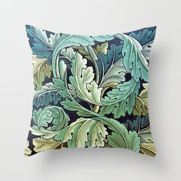 William Morris Herbaceous Italian Laurel Acanthus Textile Floral Leaf Print  Throw Pillow