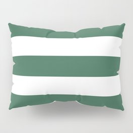 Poker Green - solid color - white stripes pattern Pillow Sham