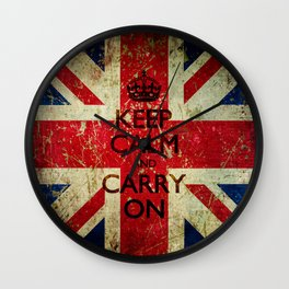 Scratched Metal/Grunge Keep Calm and Carry On Union Jack Wall Clock