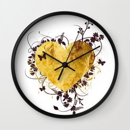 Golden Heart Wall Clock