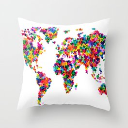 Love Hearts Map of the World Map Throw Pillow