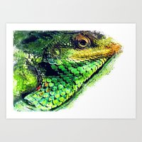 chameleon Art Prints featuring chameleon by jbjart