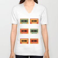 cassette V-neck T-shirts featuring cassette by vitamin