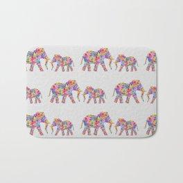 Floral Elephants, Nursery Decor Bath Mat
