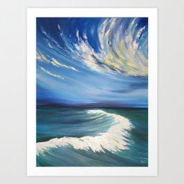 wave watercolor painting, ocean watercolour Art Print