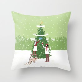 Decorating a tree Throw Pillow