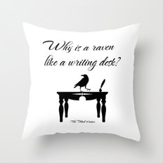Alice In Wonderland Why Is A Raven Like A Writing Desk Throw Pillow