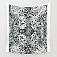 zentangle Wall Tapestries featuring Zentangle by Mechanical Kayla