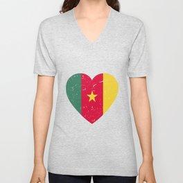 I Love Cameroon Heart  TShirt Football Shirt Soccer Gift Idea  Unisex V-Neck