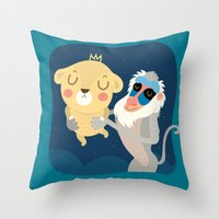 king Throw Pillows featuring King by Maria Jose Da Luz