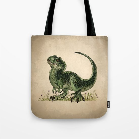 """""""Baby T-Rex"""" by Amber Marine ~ watercolor and ink, (c) 2013 Tote Bag"""