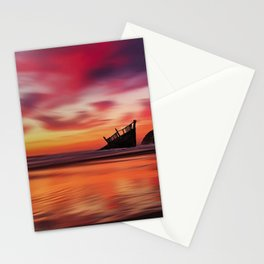 Pink Sunset at Blue Shutters - East Beach, Rhode Island Stationery Cards