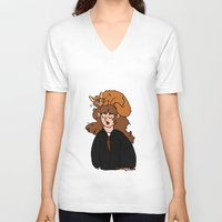 hermione V-neck T-shirts featuring Hermione and Crookshanks  by zoosemiotics