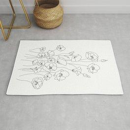 Poppy Flowers Line Art Rug