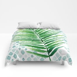 Tropical Palm Frond Watercolor Painting Comforters