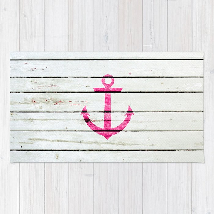 Hipster Neon Pink Nautical Anchor Striped Wood Rug By