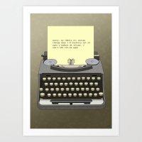 typewriter Art Prints featuring Typewriter by AdamSteve