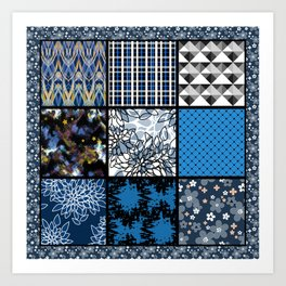 Favorite blanket and pillows . Patchwork 2 Art Print