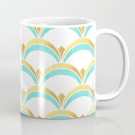 Mint and Gold Gatsby Twenties Deco Fan Pattern Coffee Mug