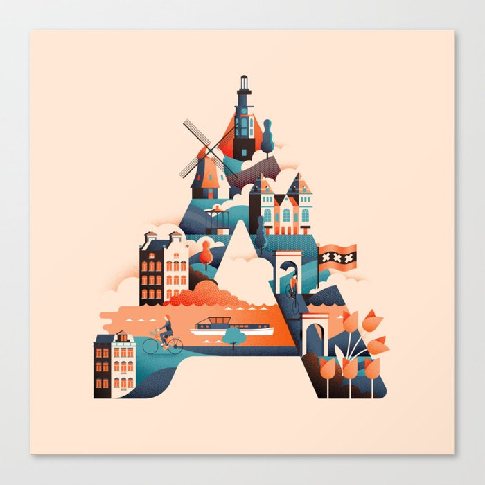 Wanderlust Alphabet – A is for Amsterdam Canvas Print