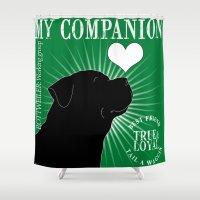 rottweiler Shower Curtains featuring ROTTWEILER – My Companion - Green by TRArtStudios