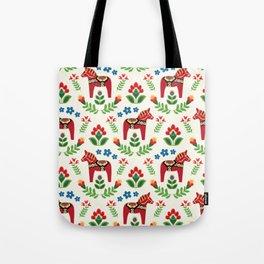 Swedish Dala Horses Red Tote Bag