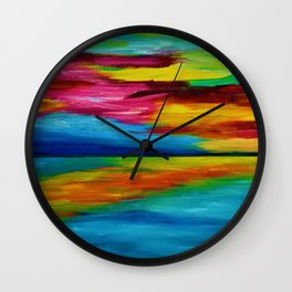 BLUE LAGOON - Abstract Sky Seascape Oil Painting Wall Clock