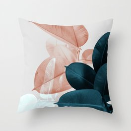 Blush & Blue Leaves Throw Pillow
