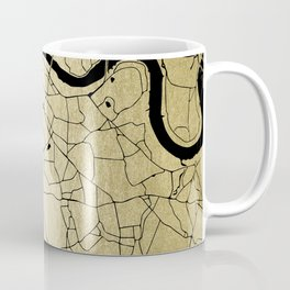 London Gold on Black Street Map Coffee Mug
