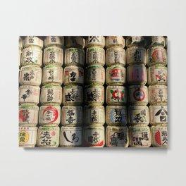 Japanese Sake Barrels Metal Print