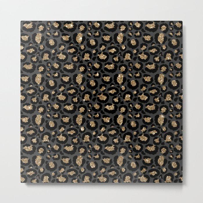 Black Gold Leopard Print Pattern Metal Print