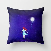 redhead Throw Pillows featuring redhead by Nancy Woland