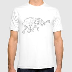 Elephant Swimming Gestural Drawing Mens Fitted Tee MEDIUM White