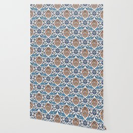 Iznik Tile Pattern Blue White Brown Wallpaper