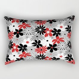 Funky Flowers in Red, Gray, Black and White Rectangular Pillow