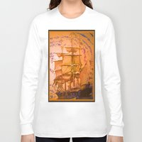 pirate ship Long Sleeve T-shirts featuring pirate ship by Moonlight Creations