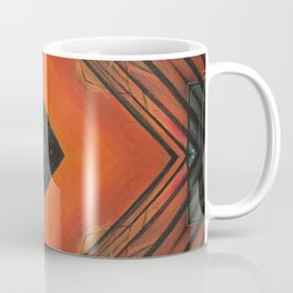 Embers // Vibrant Geometric Shapes Orange Square Black Rustic Bohemian Tribal Coffee Mug