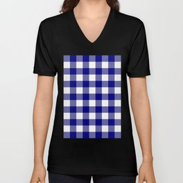 Gingham (Navy Blue/White) Unisex V-Neck