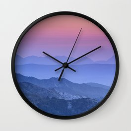 """Mountain dreams"". At sunset. Wall Clock"