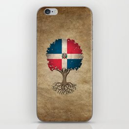Vintage Tree of Life with Flag of Dominican Republic iPhone Skin