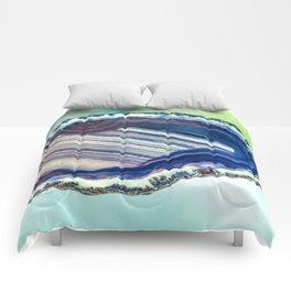 Blue purple geode Comforters