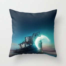 Who stole the moon? #bear Throw Pillow