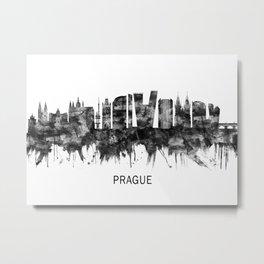 Prague Czech Republic Skyline BW Metal Print