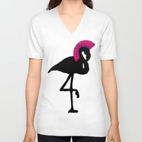 punk rock V-neck T-shirts featuring Punk Rock Flamingo by CrypticFragments Design