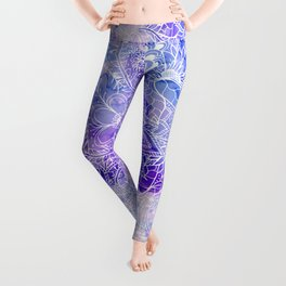Modern purple pastel pink peacock watercolor hand drawn white floral pattern Leggings
