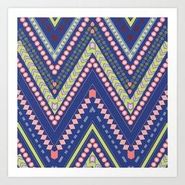 ZigZags in blue Art Print